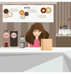 woman female customer smile in cafe with donuts vector image