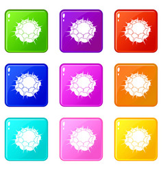 Atomic explosion icons 9 set vector