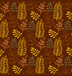 Autumn leaves background in warm colors seamless vector