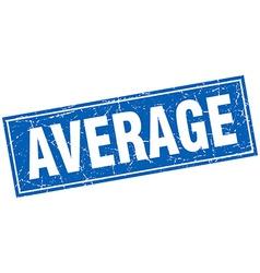 Average blue square grunge stamp on white vector