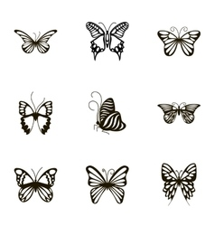Black and white butterfly icons set cartoon style vector