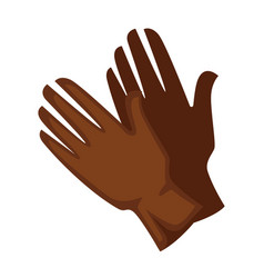Brown colored leather gloves vector
