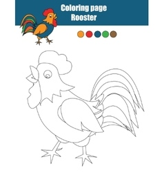 Coloring page with rooster Educational game vector image vector image