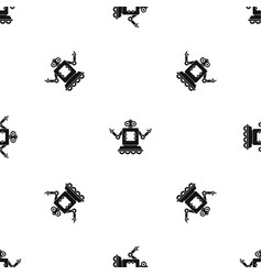 Cyborg on wheels pattern seamless black vector