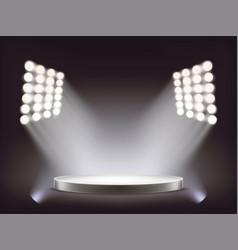 empty round white podium illuminated by spotlights vector image