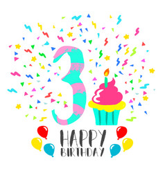 Happy birthday card for 3 year kid fun party art vector