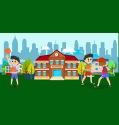 happy kids school activity child sport team boy vector image vector image