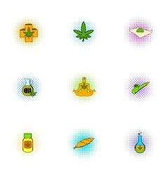 Hemp icons set pop-art style vector