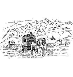 Horse wagon vector