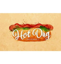 Hot dog kraft vector image vector image