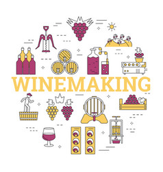 linear round concept of winemaking vector image vector image