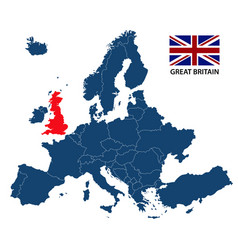 map of europe with highlighted great britain vector image