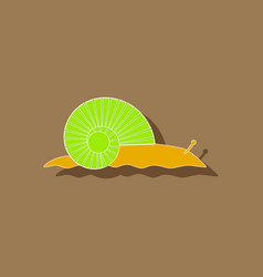 paper sticker on background of snail vector image vector image