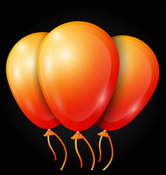 Realistic orange balloons with ribbon isolated vector