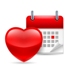 Red heart and calendar vector