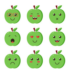 Set collection of flat design emoji green apples vector