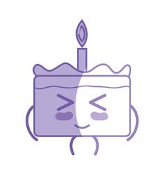 Silhouette kawaii cute funny cake dessert vector