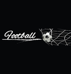 soccer or football black banner with 3d ball vector image vector image