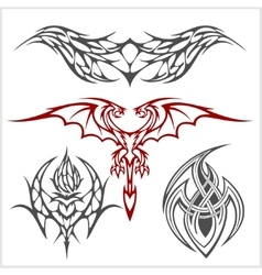 Tattoo set in tribal style on white background vector image