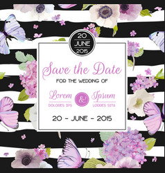 Wedding invitation template save the date card vector