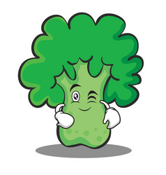 wink broccoli chracter cartoon style vector image vector image