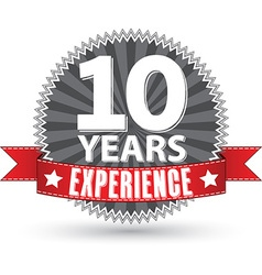 10 years experience retro label with red ribbon vector
