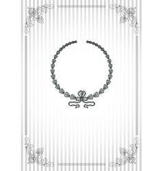 Vintage frame on striped silver background vector image