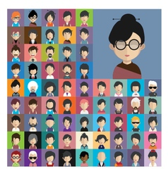 Set of people icons in flat style with faces 11 a vector