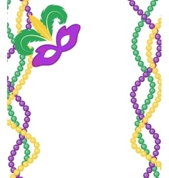 Mardi Gras beads colored frame with a mask vector image
