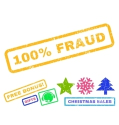 100 percent fraud rubber stamp vector