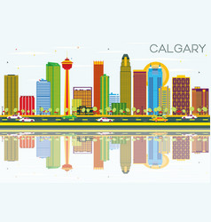 calgary skyline with color buildings blue sky vector image