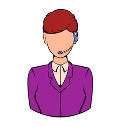 Support phone operator in headset icon cartoon vector