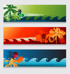 Summer horizontal beach colourful abstract banners vector