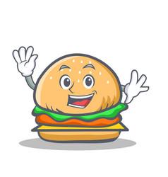 Waving burger character fast food vector