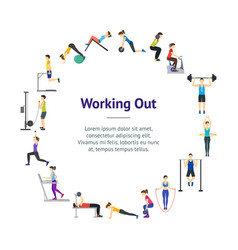 Cartoon girl and boy workout exercise in gym vector