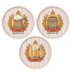 Barrel beer set vector