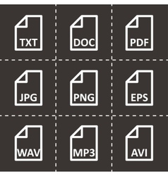 black file type icon set vector image