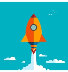 Start up new business project with rocket vector