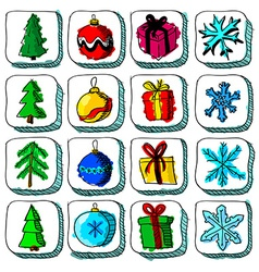 Set of colorful christmas sketch icons with vector