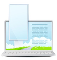 Icon laptop with green landscape vector