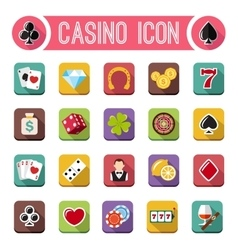 Casino flat icons slot machine vector