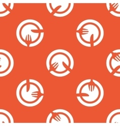 Orange tableware pattern vector