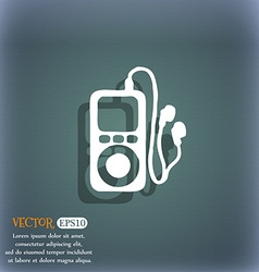 Mp3 player headphones music icon symbol on the vector