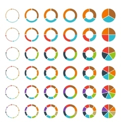 Segmented pie charts and arrows set vector