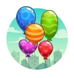 With cute cartoon balloons vector