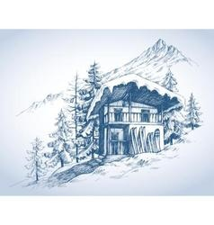 Ski hut in mountains resort vector