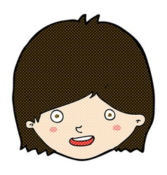 Comic cartoon happy female face vector