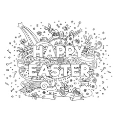Happy easter doodle outline composition vector