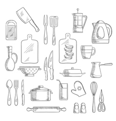 Kitchen utensils and appliances sketches vector