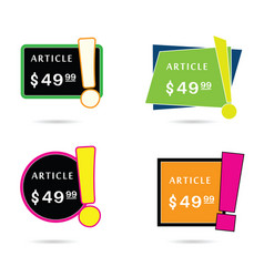 article price offer set in diferent frame color vector image vector image